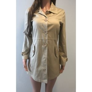Max Studio Khaki Silk/Cotton Blend Coat Size M